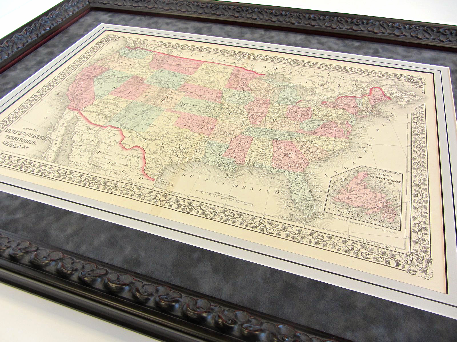 Interior Decor Hang With Big Picture Framing - Framed us map